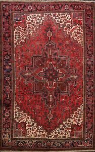 Vintage-RED-Traditional-Heriz-Hand-knotted-Area-Rug-Geometric-Oriental-WOOL-8x11