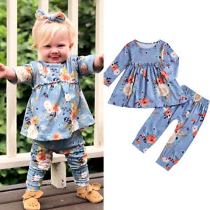 2pcs-Toddler-Kids-Baby-Girl-Floral-Dress-Tops-Pants-Leggings-Outfits-Set-Clothes