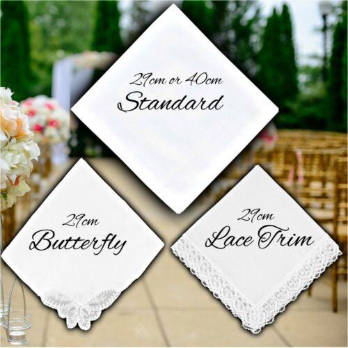 Personalised Ladies wedding handkerchief White Name Bride To Be Bridesmaid