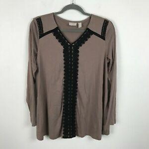 LOGO-Lori-Goldstein-Blouse-Size-M-Taupe-Beige-Black-Crochet-Long-Sleeve-Tunic