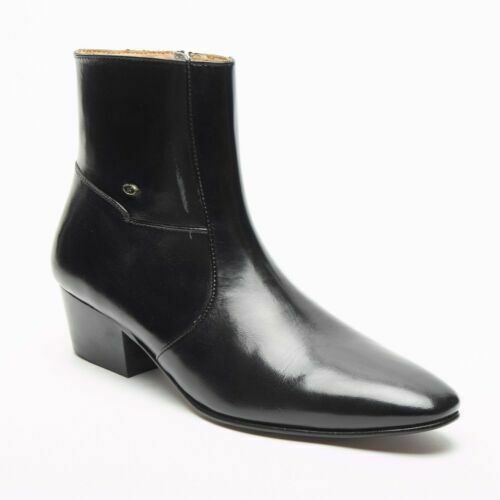 Mens Formal Lucini Leather Black Cuban Heel Wedding Party Ankle Boots Zip Up