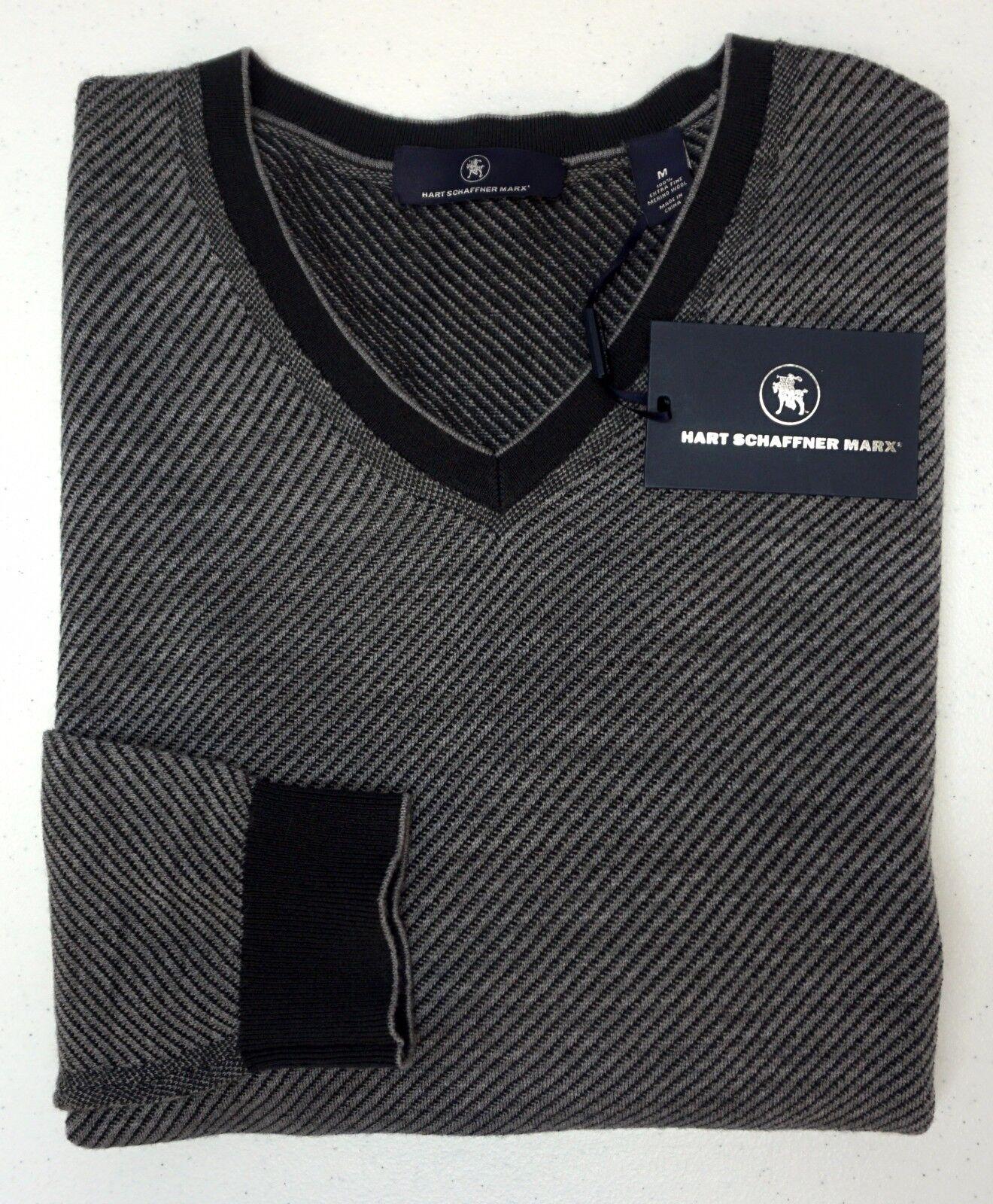 NWT 150 Hart Schaffner Marx LS Sweater  Herren Größe M 100% Merino Wool Grau Stripe