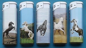 SET-OF-5-ELECTRONIC-STYLE-LIGHTERS-HORSES