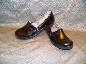 New Womens Ahnu Jackie Patent Black Leather Espadrille Loafer Slip On Dress Shoe