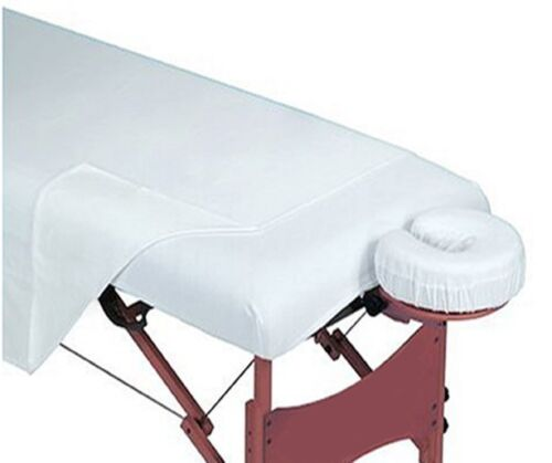 1 NEW WHITE MASSAGE TABLE SHEET 54X72 DRAW SHEET FLAT T130 MUSLIN, FREE SHIPPING