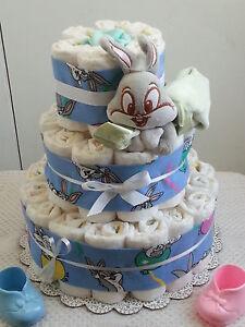 Image Is Loading 3 Tier Diaper Cake Bugs Bunny Blanket Looney
