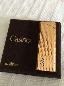CONSUL-CASINO-Gold-Platted-Encendedor-Mechero-feuerzeug-lighter-briquet