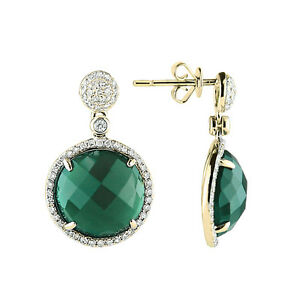 07f5e759ba5c8 Details about 14K YELLOW GOLD PAVE DIAMOND CHECKERBOARD GREEN AGATE DROP  DANGLING EARRINGS