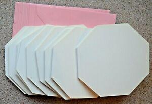 10-Blanco-Hexagonal-Tarjetas-en-Blanco-114mm-Sq-amp-Rosa-Sobres-Nuevo
