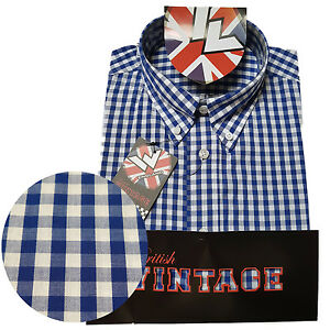 Warrior-UK-England-Button-Down-Shirt-STEADY-Slim-Fit-Skinhead-Mod-Retro