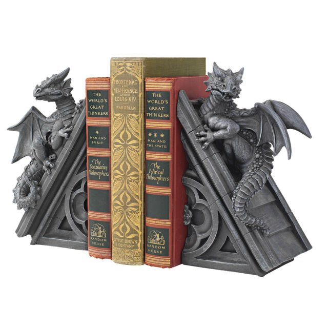 Medieval Rooftop Winged Dragon Book Ends Gothic Bookends