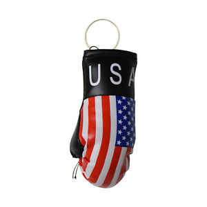 "USA Flag ""Mini"" Boxing Gloves 3.5 x 2 inch Keychain Key Ring Great Item!"