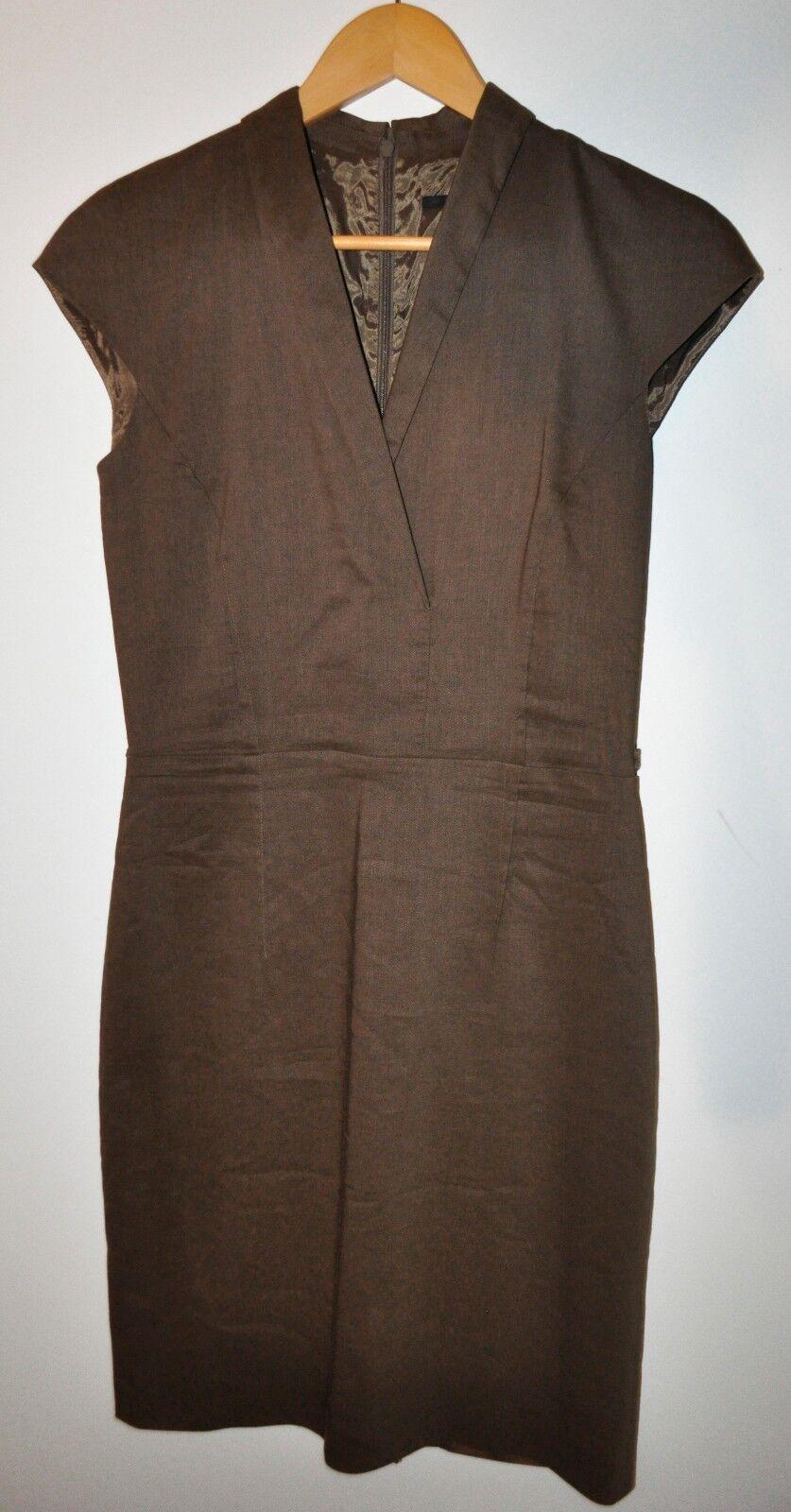 Hugo Boss Daryn Brown   Beige Cap Sleeve Wool Linen Sheath Dress Size 4 STUNNING