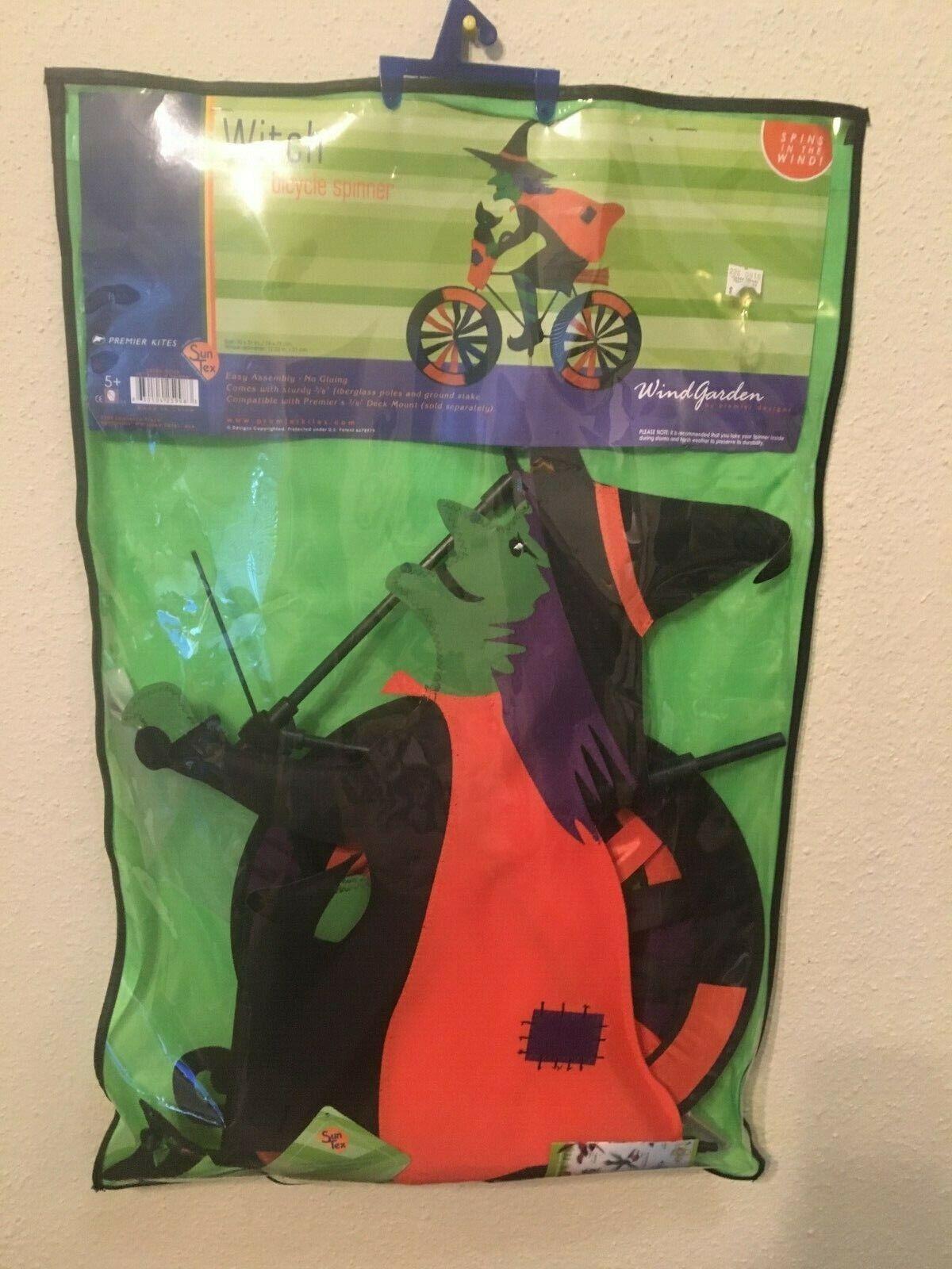 Premier Kites Halloween Witch On Bicycle 30  Garden Wind Spinner NIP