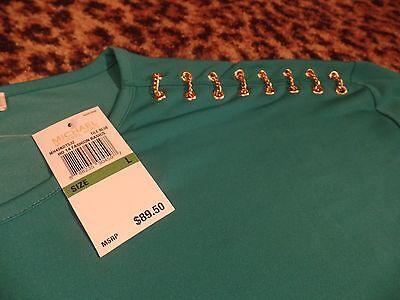 MICHAEL KORS Tile Blue Gold Chain Link Shoulders Knit Shirt Blouse Womens NEW L