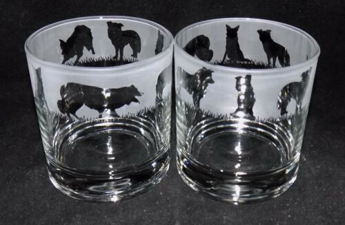 """- Buy 1 2 or 4 Traditional Glasses New Etched /""""BORDER COLLIE/"""" Whiskey Glass es"""