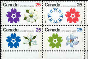 Canada-Mint-VF-Scott-511b-Block-of-4-25c-1970-Expo-039-70-Stamps-Never-Hinged