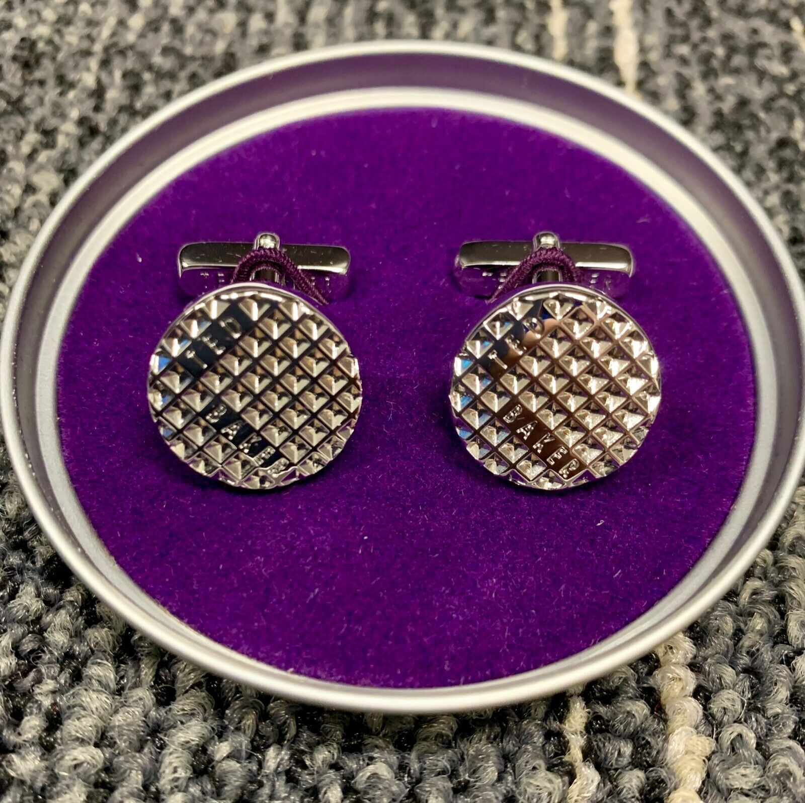 Ted Baker silver tone cuff links in gift box