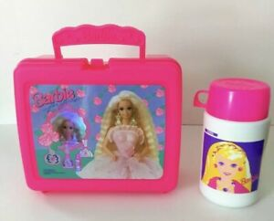 Vintage-Plastic-Lunchbox-Barbie-For-Girls-with-Thermos-by-Thermos-RARE-1993