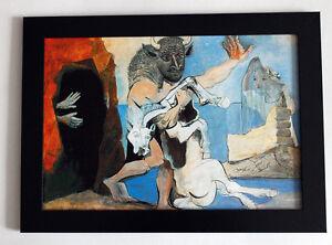 Pablo-Picasso-034-Minotaur-and-a-dead-horse-034-framed-giclee-CANVAS-PRINT-25cmx34cm