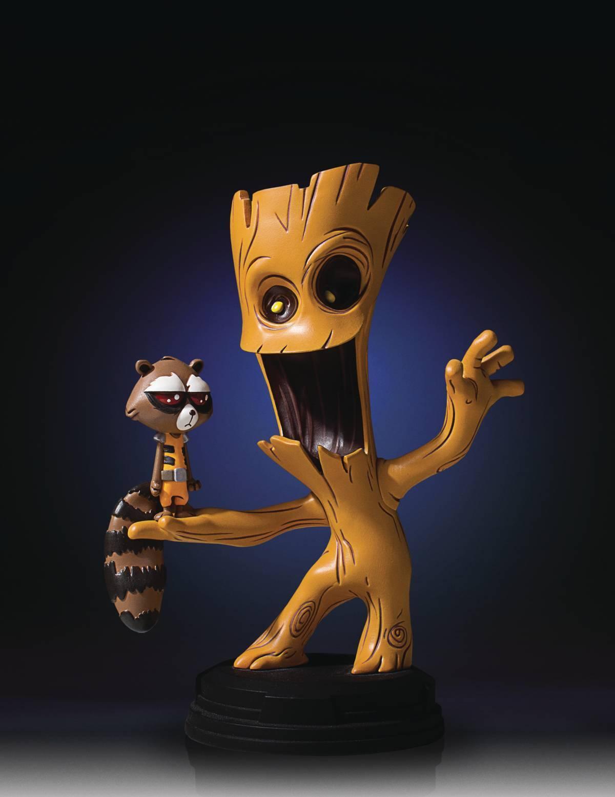 Marvel Animé Style Groot & Fusée Raton Laveur Gentle Giant Statuette Skottie
