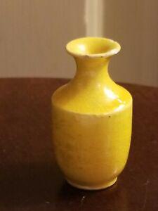 ANTIQUE CHINESE ORIENTAL YELLOW mustard GLAZE PORCELAIN DOLLHOUSE MINIATURE VASE
