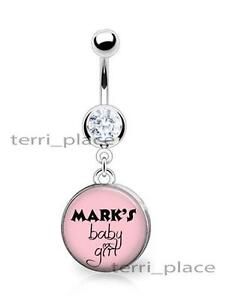 Details About Custom His Name Baby Girl Cz Belly Ring Navel Glass Top Personalized 14ga 3 8