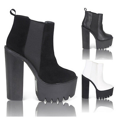 WOMENS LADIES CHUNKY HIGH HEEL PLATFORM CLEATHED SOLE ANKLE SHOES BOOTS