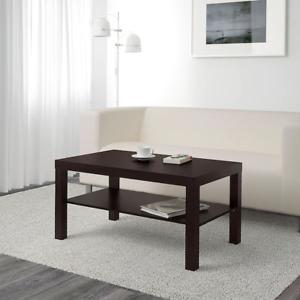 Dettagli su TAVOLINO SOGGIORNO MOBILI DESIGN MODERNO CON SCAFFALE IKEA  Nero-Marrone- mostra il titolo originale