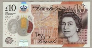 1 BRITISH  £10.00 POUNDS, POLYMER BANKNOTE, Q.E.II, REAL CURRENCY 2016 Series