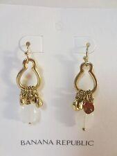 Banana Republic Gold Charm Drop Cream Earrings NWT $45