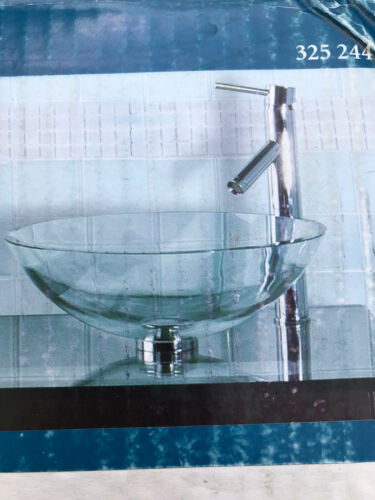 Pegasus GVS-165 Above Counter Round Bathroom Glass Vessel Sink /& Mounting