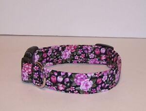Wet Nose Designs Colorful Pink Flowers Dog Collar On Black Floral