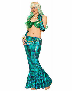 Fantasy Mermaid Ariel Costume Adult Long Blue Tail Fin Skirt  sc 1 st  eBay : ariel costume womens  - Germanpascual.Com