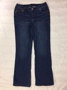 Lane-Bryant-Womens-Jeans-Size-14-Slim-Boot-Cut-Genius-Fit-Dark-Wash-Whiskered