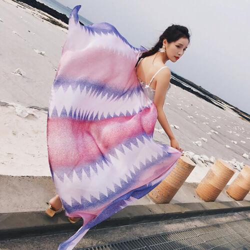 Spring Scarf For Women Ladies Gradient Long Soft Beach Wraps Summer N7