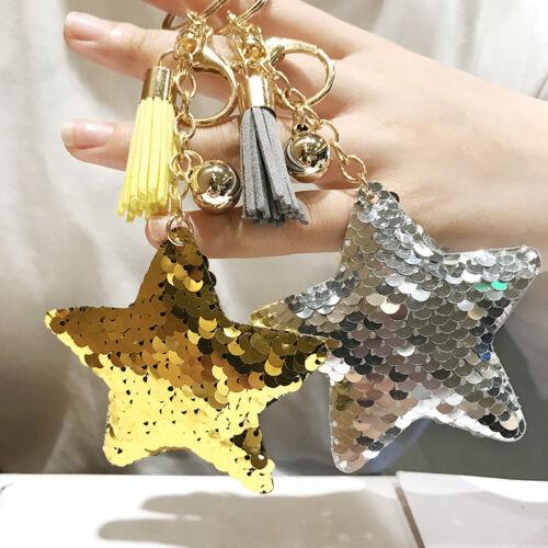 1x Star Glitter Keychain Tassels Bling Sequins Key Chain Women Girls Accessories