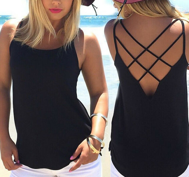 Sexy Women Ladies Cami Sleeveless Vest Strappy Plain Back Cross Tank Top New
