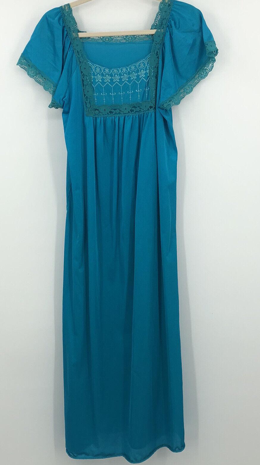 Nightgown ML Turquoise Blue Glam Garb Handmade USA Hand-Dyed Vintage Nightie Retro Lacy Gown Romantic Dress Victorian Boudoir Feminine Mori