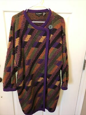 Vintage Tony Lambert L Large Cardigan Sweater Brown Black Button Down Front womens H7