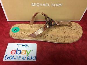 Michael-Kors-Sable-Gold-MK-Logo-Charm-Jelly-Cork-Flip-Flop-Sandals-Size-6-10-NIB