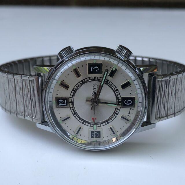 Sears Swiss Alarm Watch Dual Crown AGON CHROM WATCH CORP