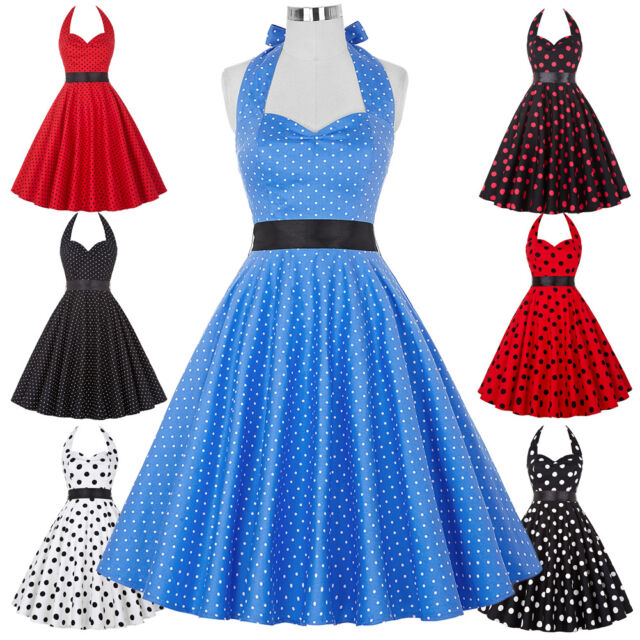 Womens Vintage Polka Swing 50s 60s Pin Up Housewife Cocktail Party Dress Ball