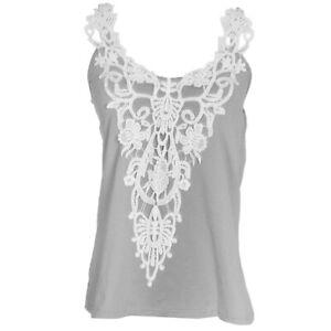 Fashion-Women-Lace-Vest-Top-Tank-Casual-Blouse-Top-Sleeveless-T-Shirt-Gray-S-5XL