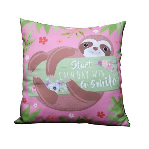 Sloth commencer chaque jour avec un sourire Coussin carré 40 cm x 40 cm Homeware idée cadeau