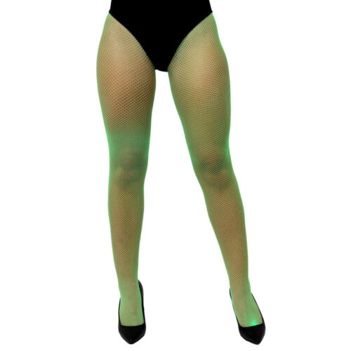 ADULT GREEN NEON FISHNET TIGHTS MESH STOCKINGS 80S 90S ACCESSORY FANCY DRESS