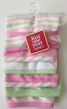 New Carter's 6 Pack Washcloths Bath Time Girl's Towels Pink White Stripe Dots