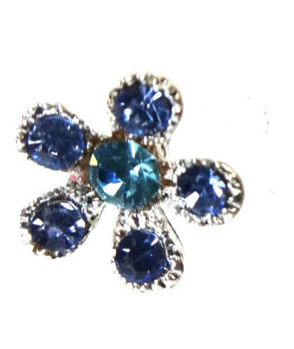 ELEGANT LADIES BLUE FLOWER DIAMANTE EARRINGS BRAND NEW UNIQUE STUNNING A17