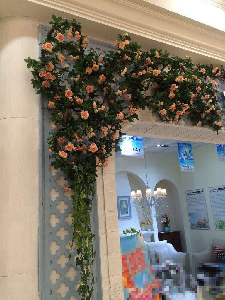 2x 8Ft Artificial Rose Garland Silk Flower Vine Ivy Wedding Party Garden Decor 4