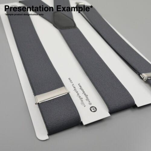Blue Braces Green Rugby Stripes Clip On Adjustable Mens Elastic Suspenders UK